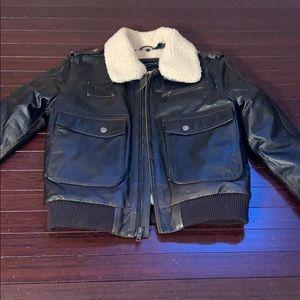 United Face Boys Leather Bomber Jacket